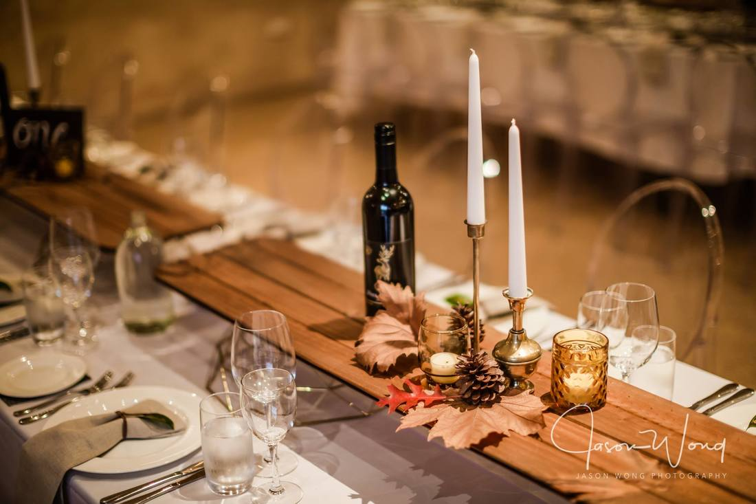 Timber Table Runners for hire in Adelaide SA