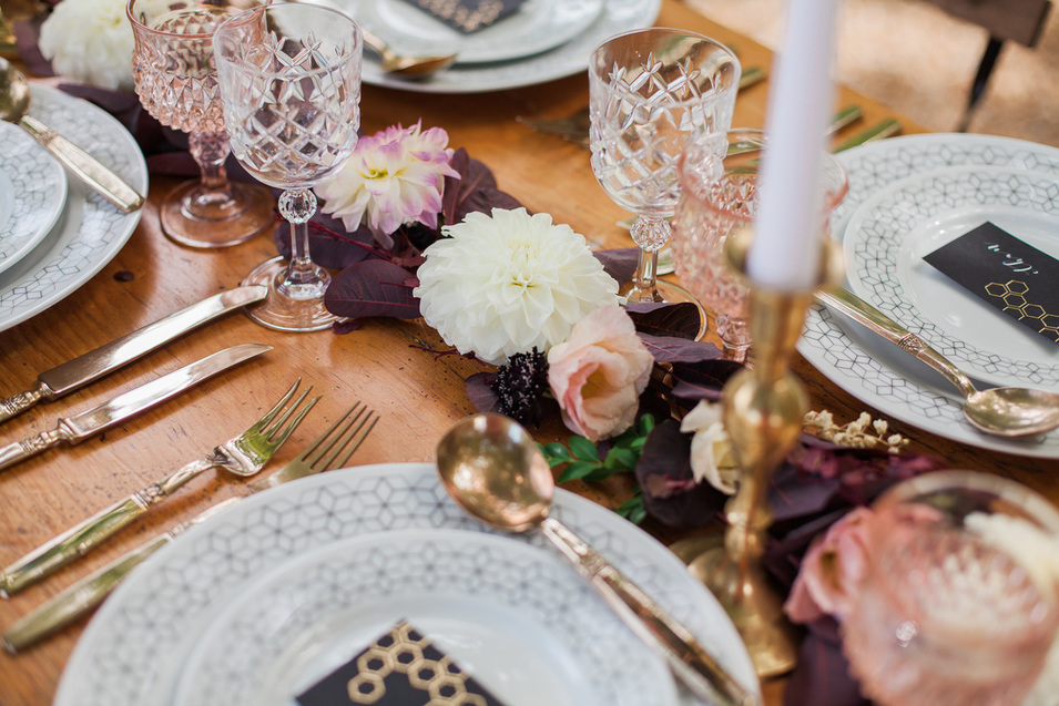 Geometric table setting styling with brass and autumn colours