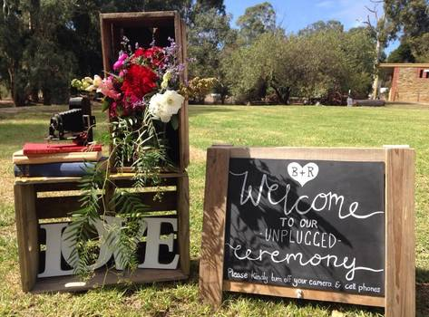 Small trestle chalkboard sign to hire for weddings and events in Adelaide and the Barossa SA