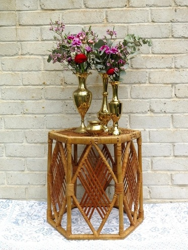 Bohemian Cane Side Table for hire in Adelaide