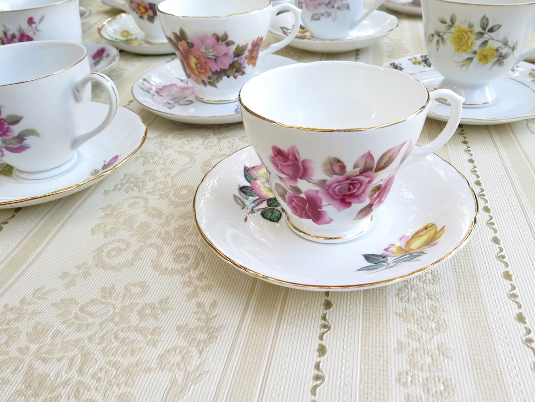 mismatched vintage teacups and saucers available to hire for events in Adelaide and Barossa, SA