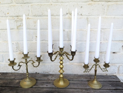 Brass candlesticks to hire for weddings and events in Adelaide and the Barossa