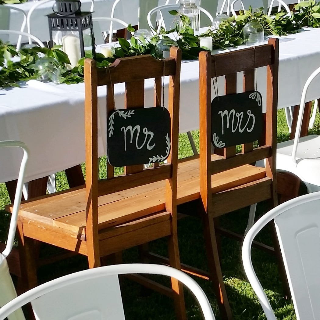 Timber bench seat to hire for weddings and events in Adelaide SA