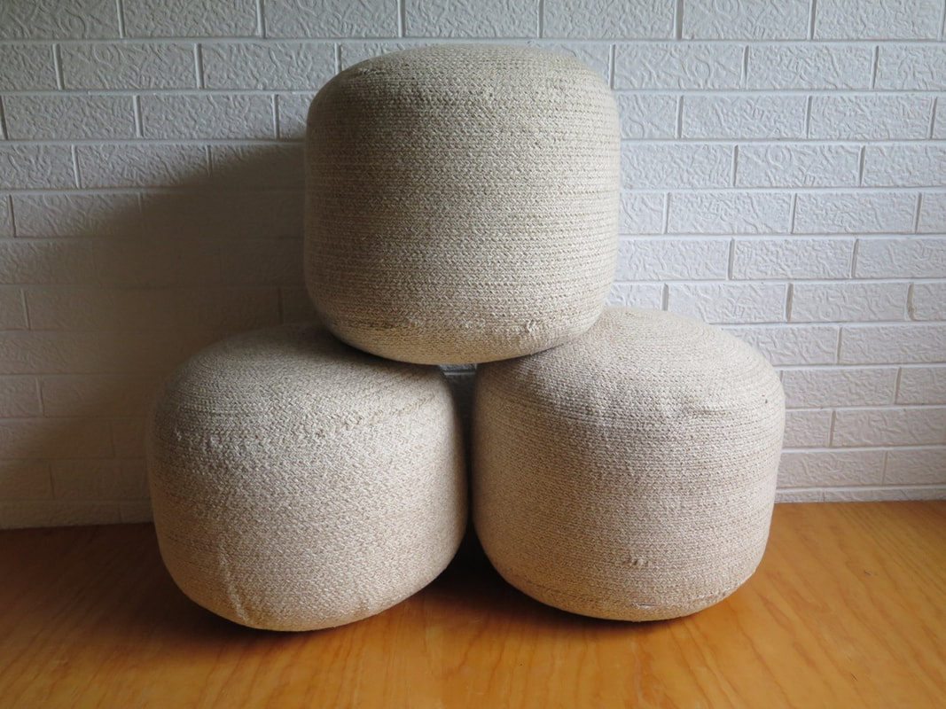 Beige Cotton Ottomans available for hire for weddings and events in Adelaide and Barossa SA.