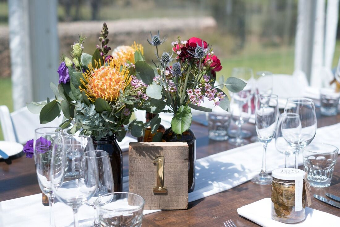 Brass Block Table Numbers to hire for weddings and events in Adelaide SA